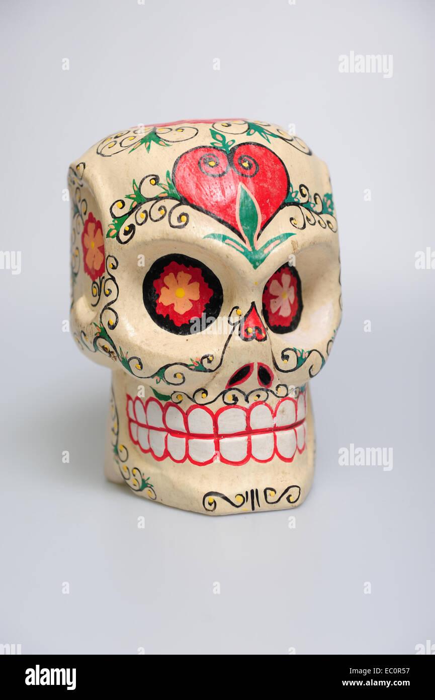 Day Of The Dead Wooden Painted Traditional Skull From Mexico Used In