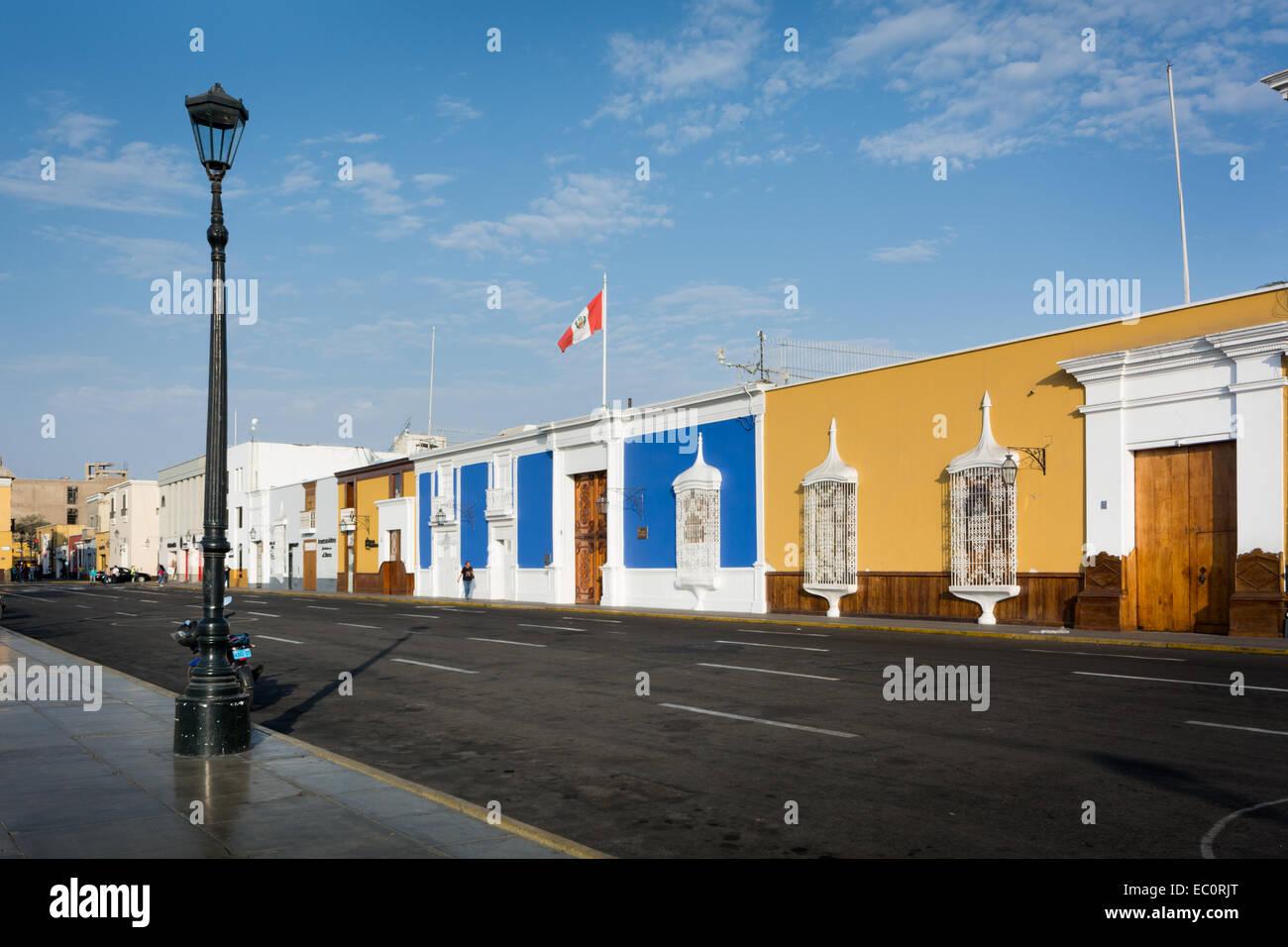 Colonial Style Buildings around the Main Square of Trujillo, Peru - Stock Image