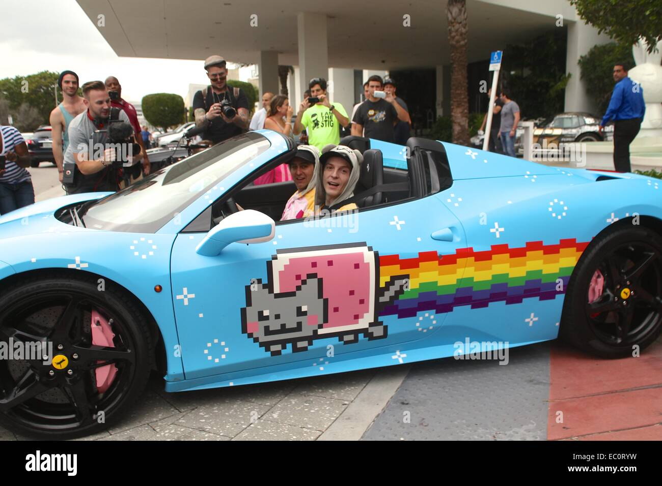 Deadmau5 aka Joel Zimmerman with his Ferrari 458 Italia wrapped in  Nyan Cat   livery at the Gumball 3000 registration in Miami a22f2abef