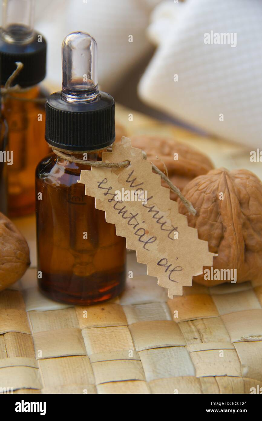 Bottle of walnut essential oil on the woven surface. Walnuts in the background Stock Photo