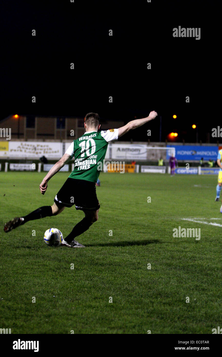 Aberystwyth, Wales, UK. 7th December 2014. Aberystwyth Towns Chris Venables scores against Rhyl to become the first - Stock Image
