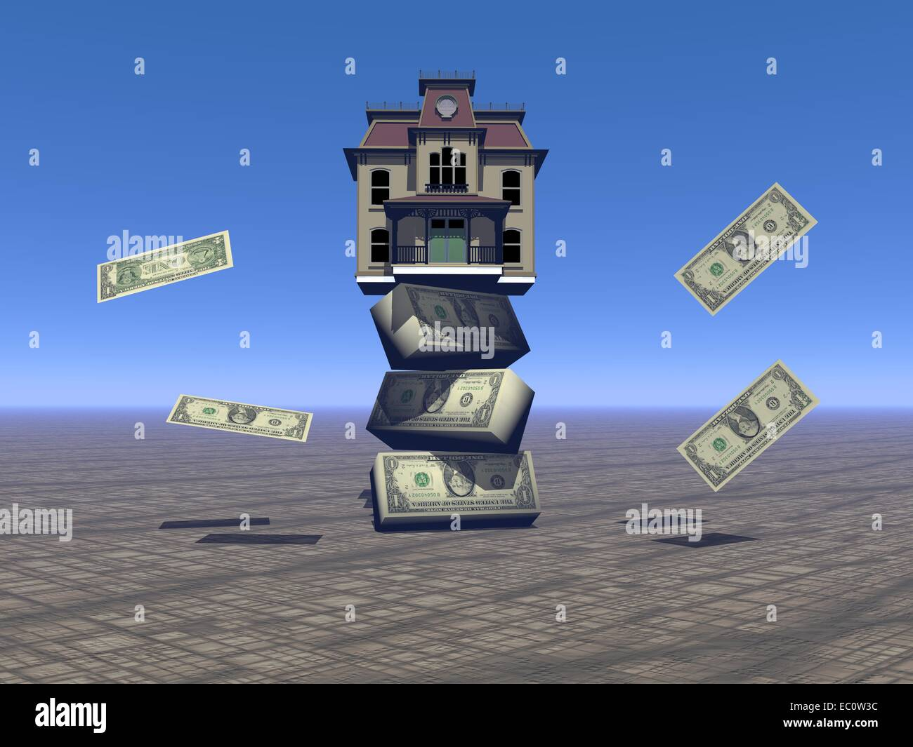 house and money sky blue - Stock Image