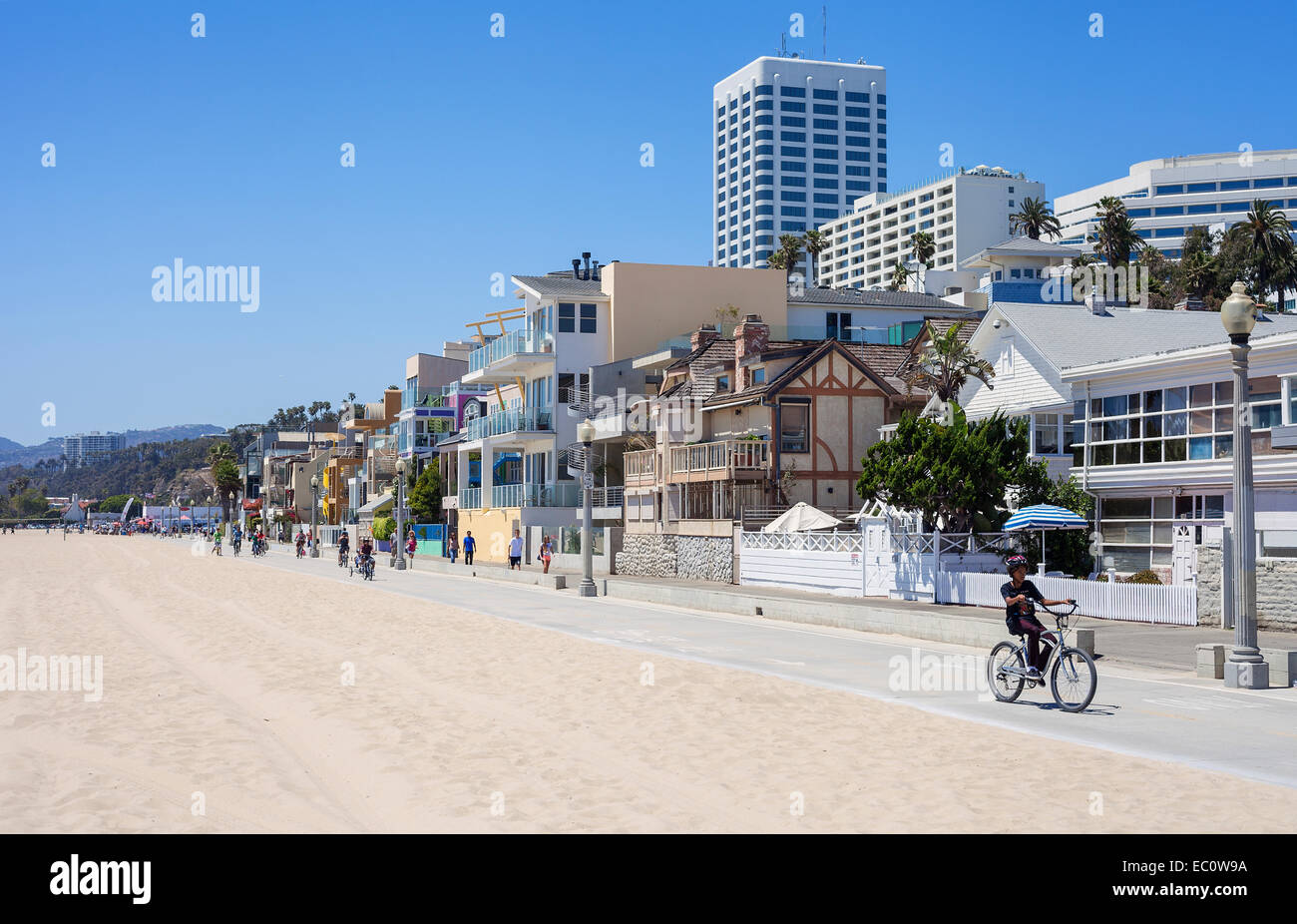 Santa Monica beach houses along the boardwalk, Santa Monica California USA Stock Photo