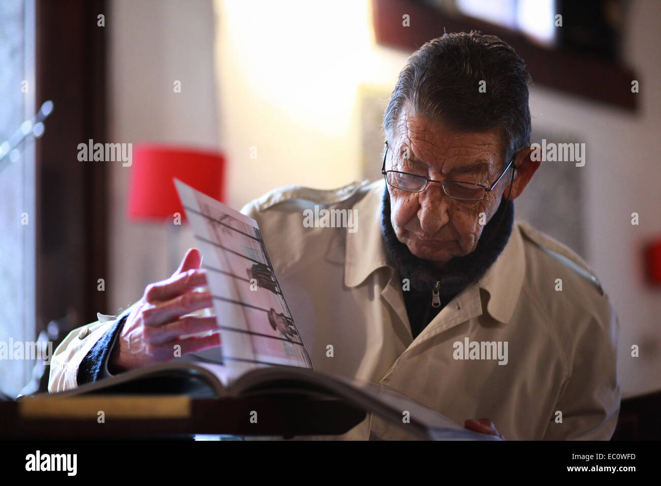 Portrait of an Italian senior citizen sitting in a wine bar, being sunk in a book of photography. Spilimbergo, Italy - Stock Image