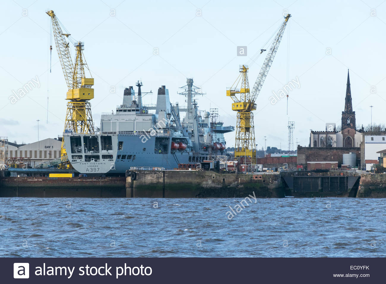 Royal Fleet Auxiliary Fort Victoria, A387, in No. 5 dry dock at Cammell Laird shipyard, Birkenhead, Merseyside - Stock Image