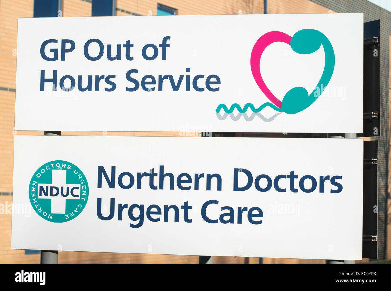 GP out of hours service sign outside Crutes House, Stockton, north east England, UK - Stock Image