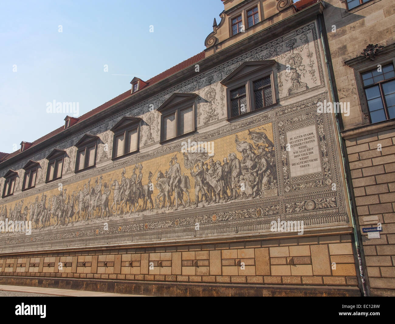 Fuerstenzug meaning Procession of Princes, large mural of a mounted procession of the rulers of Saxony painted in - Stock Image