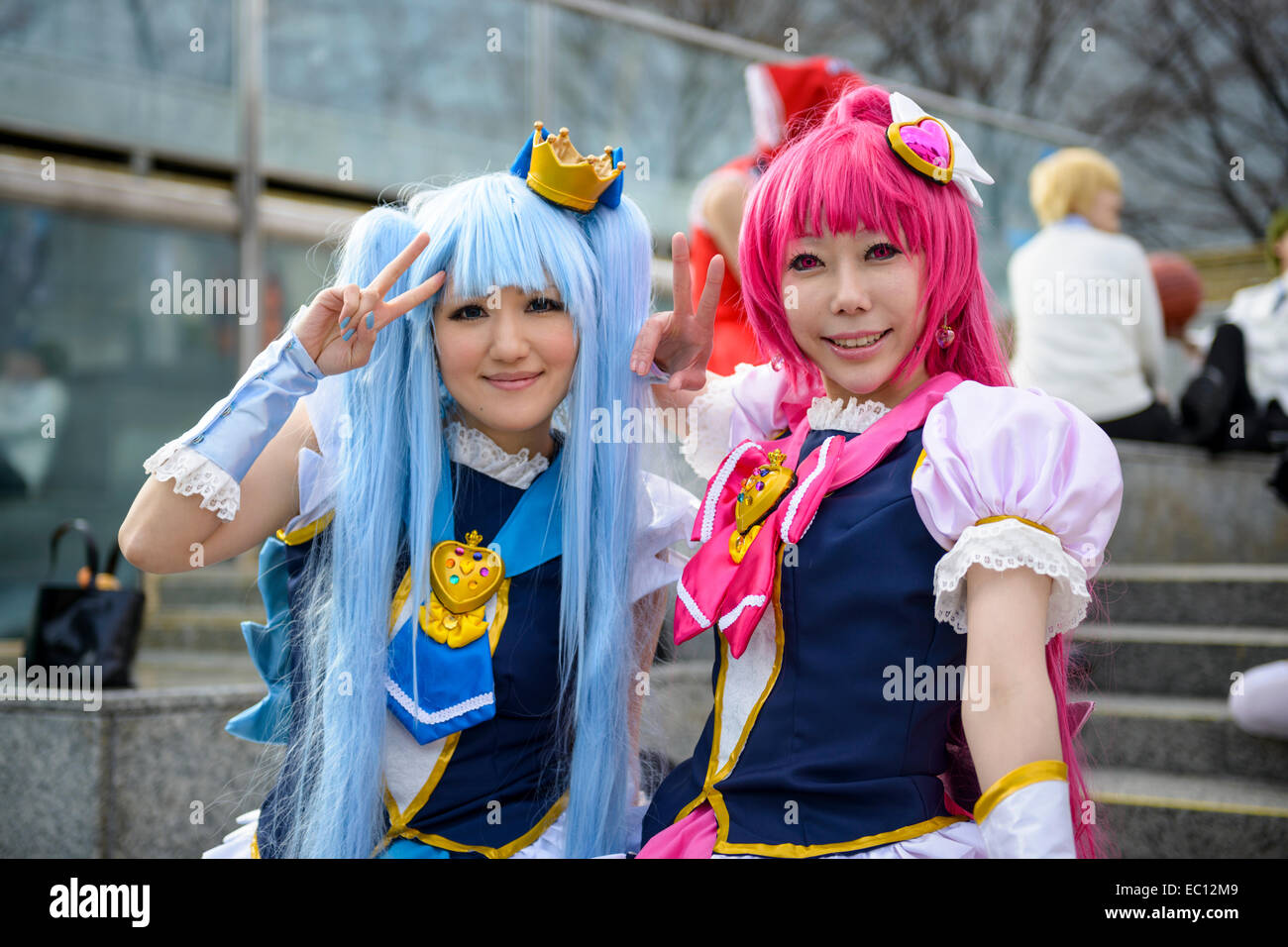Girls Dressed As Anime Characters Pose At A Cosplay Gathering Stock