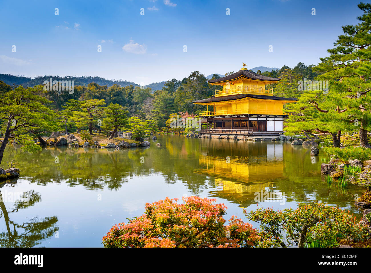 Kyoto, Japan at Kinkaku-ji Temple of the Golden Pavilion. - Stock Image