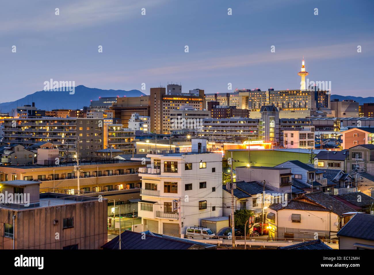 Kyoto, Japan city skyline with apartment buildings. - Stock Image