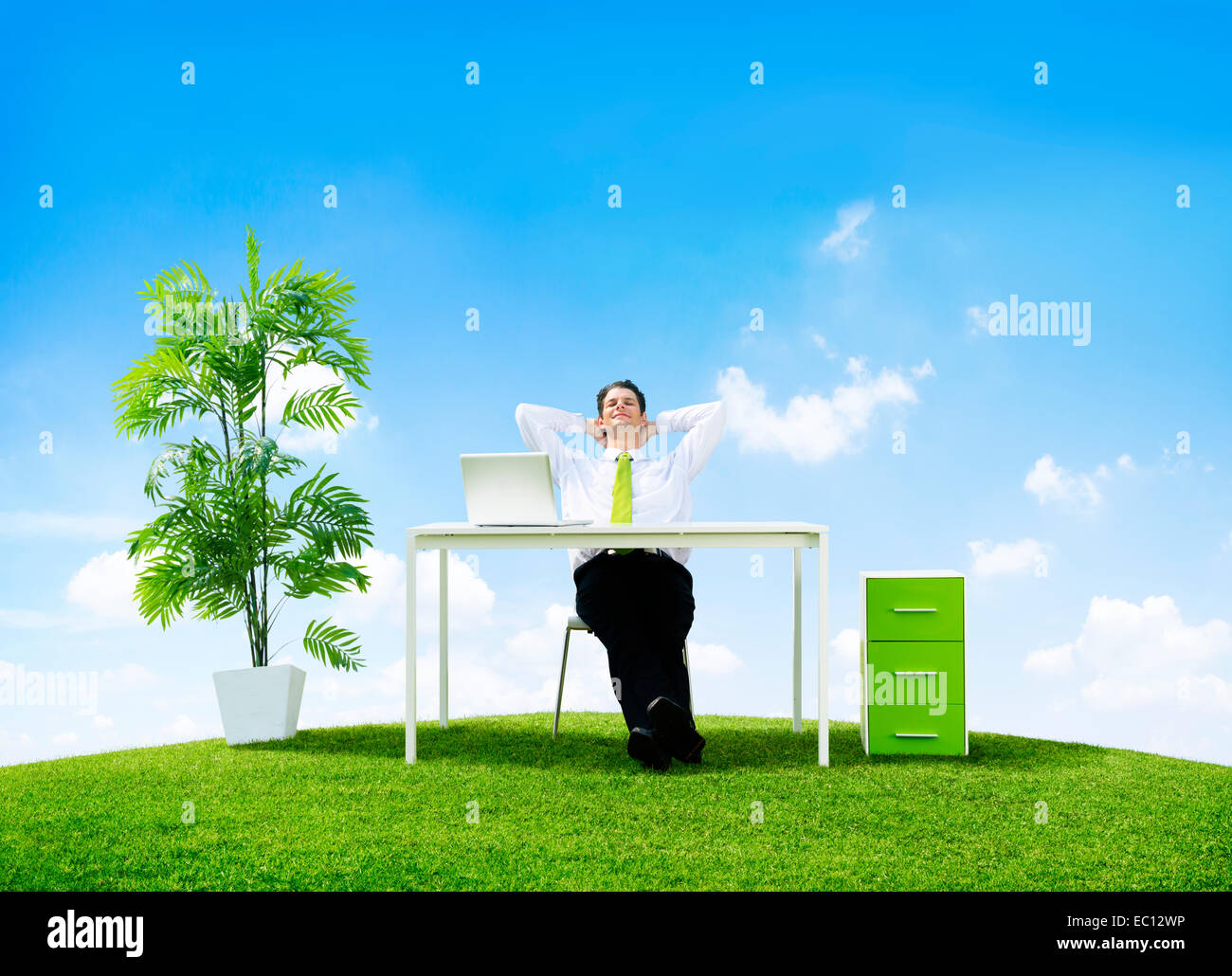 Business Man in His Office Outdoors - Stock Image
