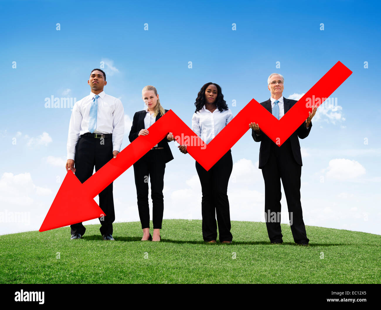 Angry Business Man Outdoors Holding Declining Line Graph - Stock Image