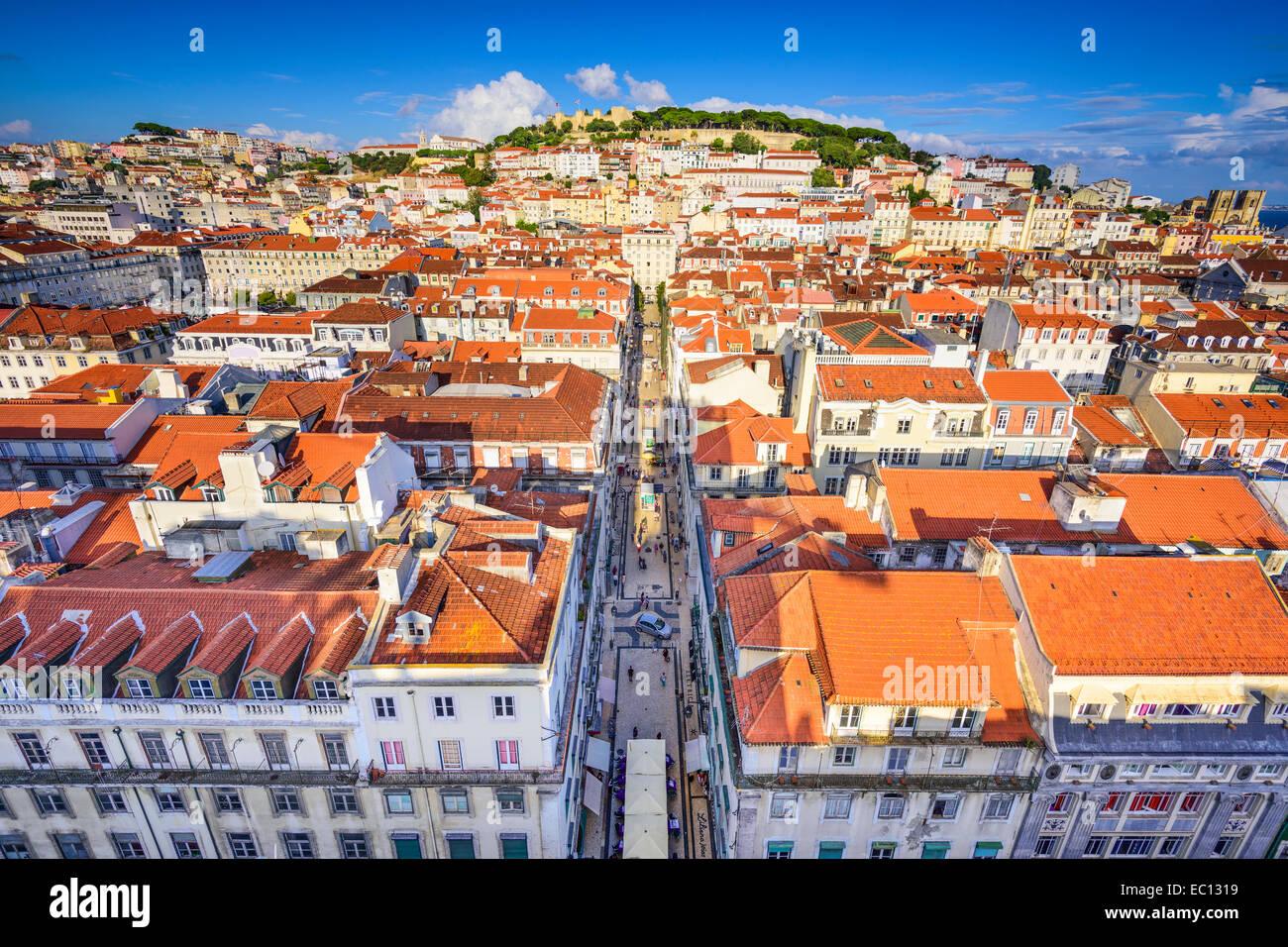 Lisbon, Portugal city skyline over Santa Justa Rua. - Stock Image
