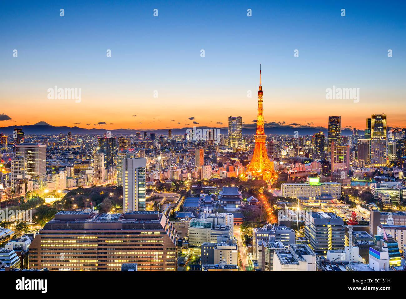 Tokyo, Japan skyline at Tokyo Tower. - Stock Image
