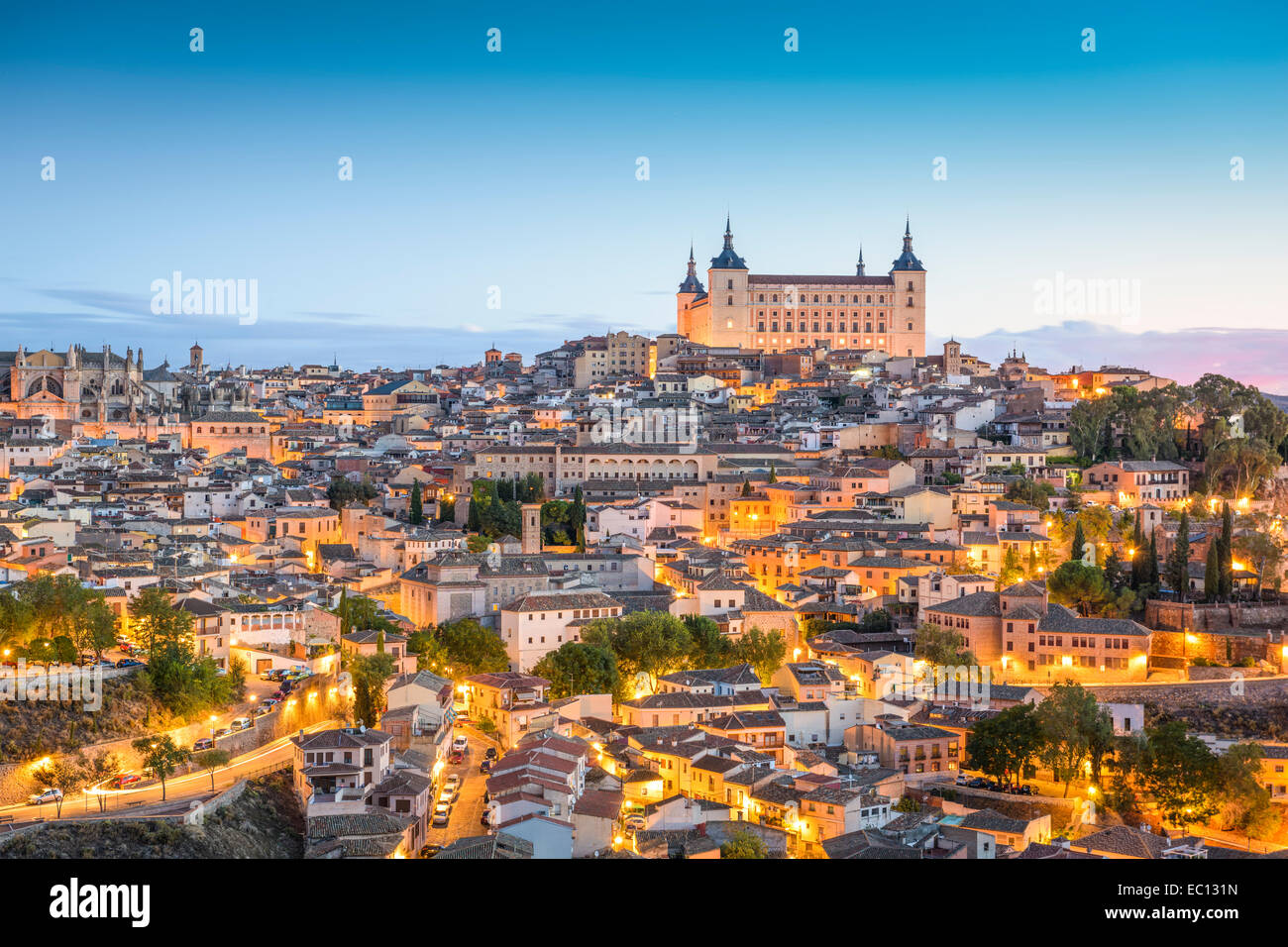 Toledo, Spain town skyline at the Alcazar at dawn. - Stock Image