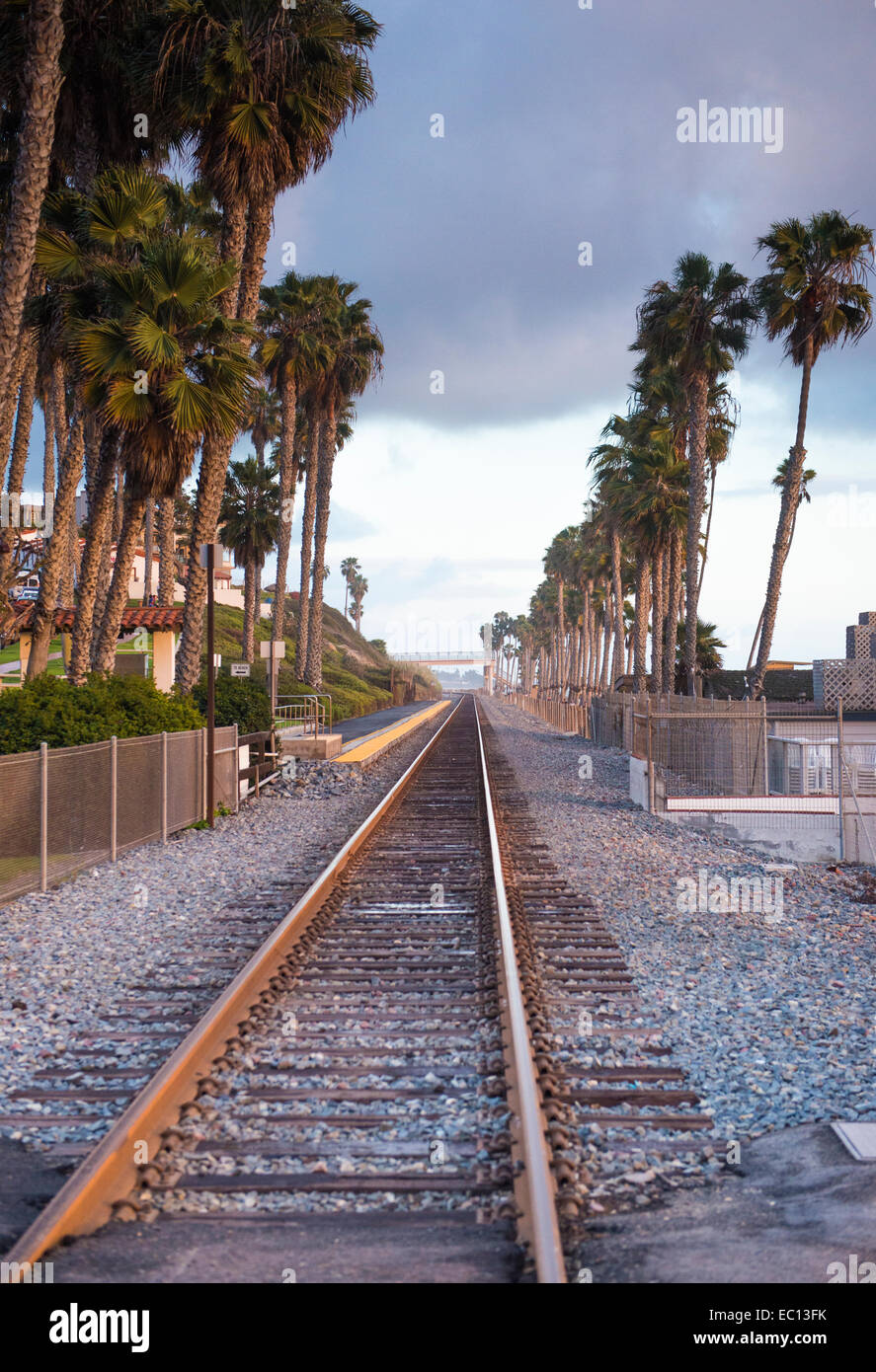 Railway tracks by the San Clemente Pier, California. Stock Photo