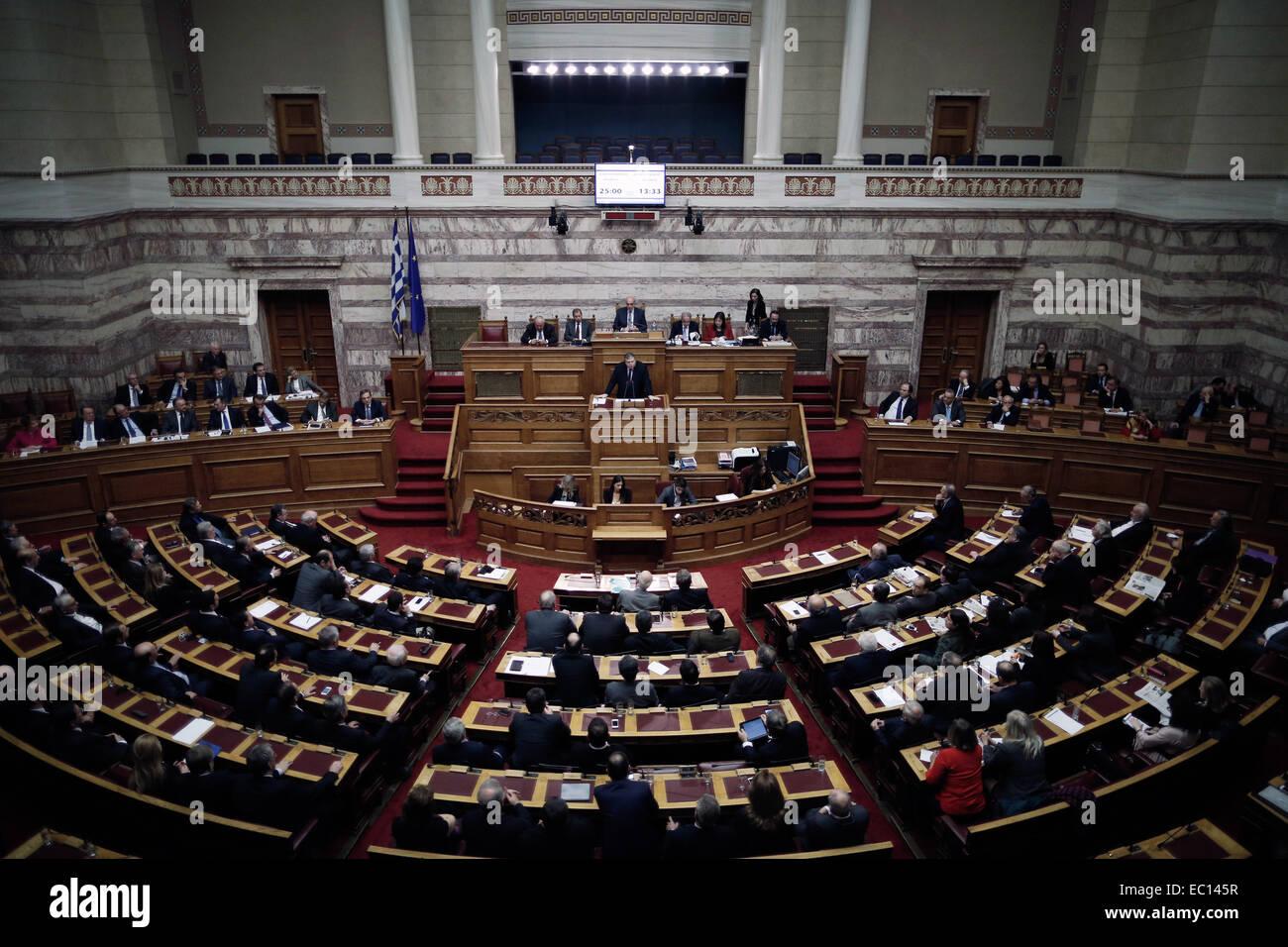 Athens, Greece. 07th Dec, 2014. The Greek parliament Credit:  Konstantinos Tsakalidis/Alamy Live News - Stock Image
