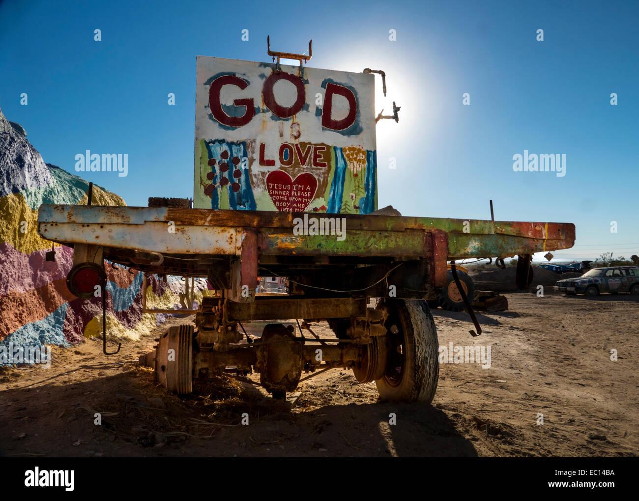 A religious folk art truck by Leonard Knight at Salvation Mountain near Niland California - Stock Image
