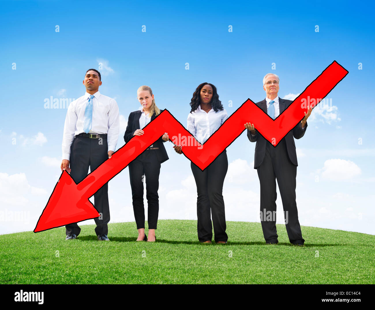 Angry Business People Holding Arrow Sign Downsizing - Stock Image