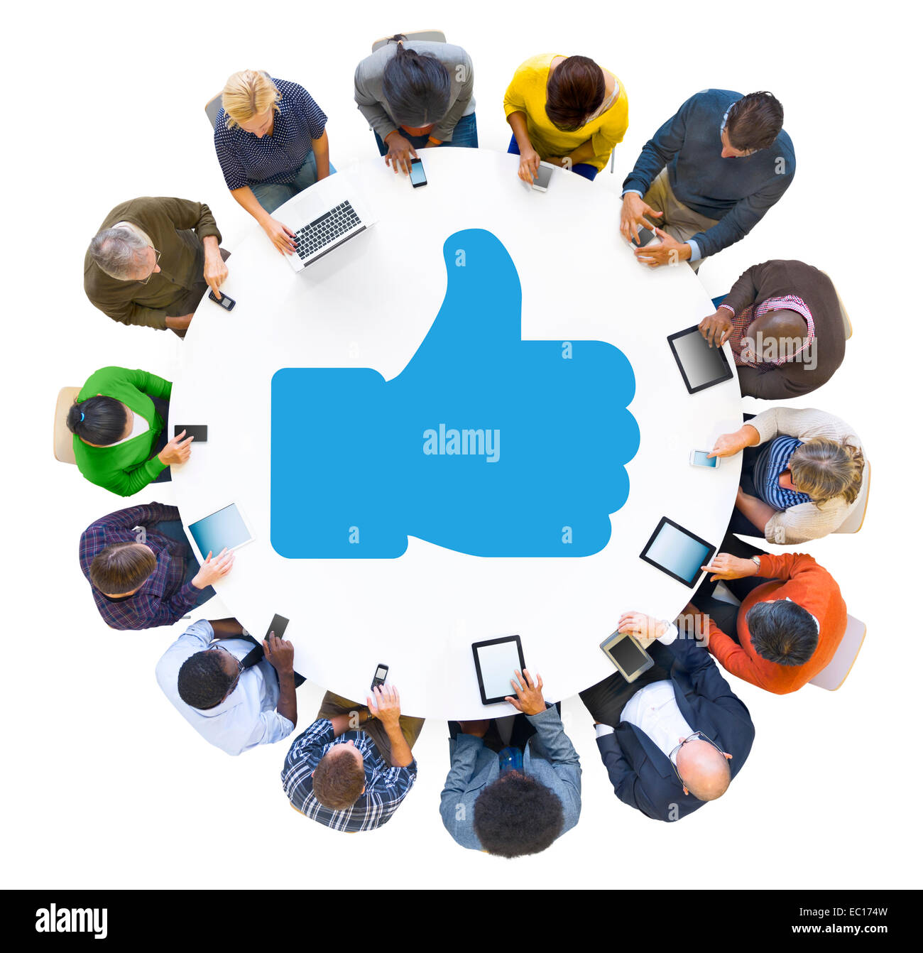 Multiethnic People Using Digital Devices with Thumbs Up Symbol - Stock Image