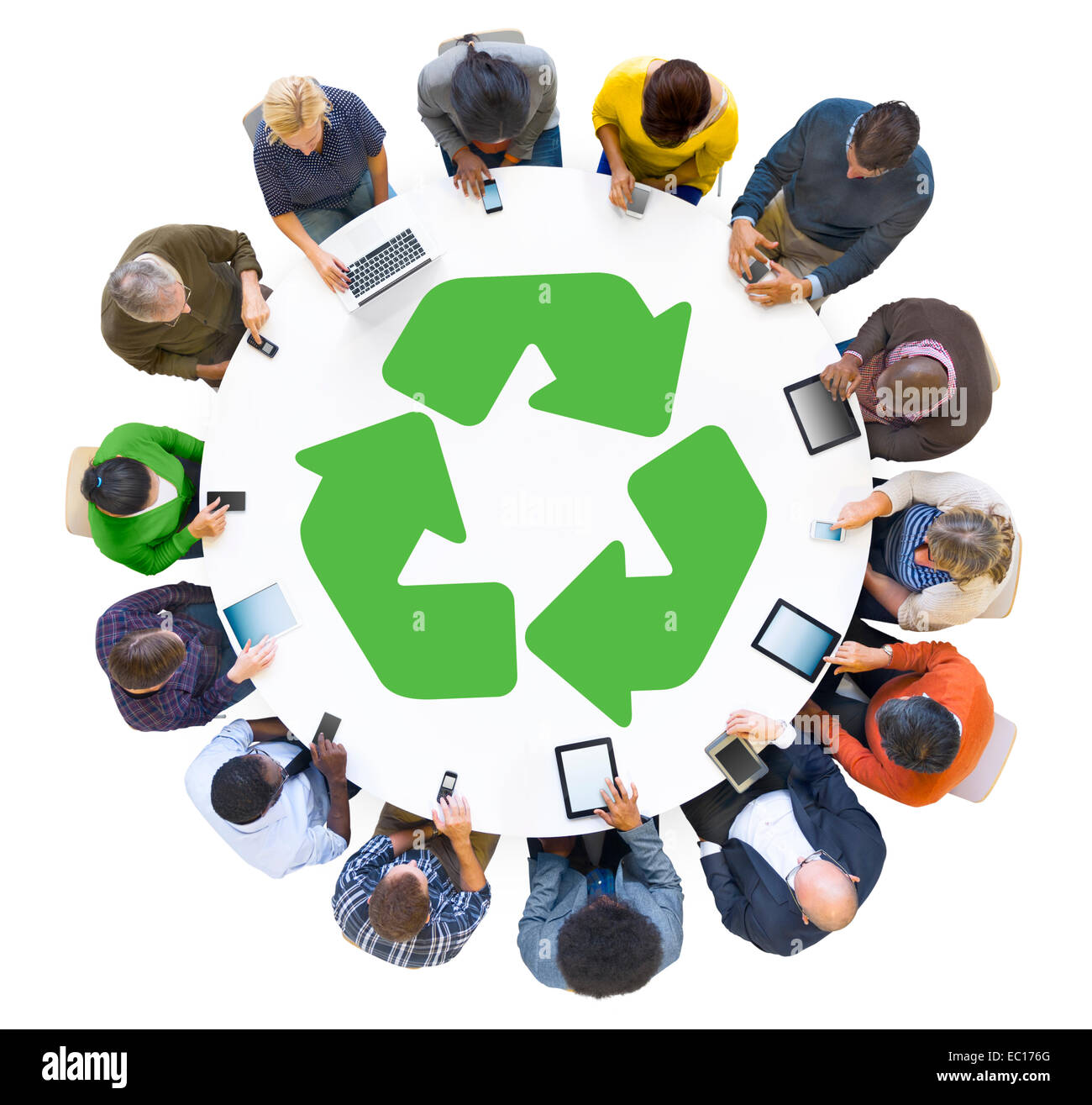 Multiethnic People Using Digital Devices with Recycle Symbol - Stock Image
