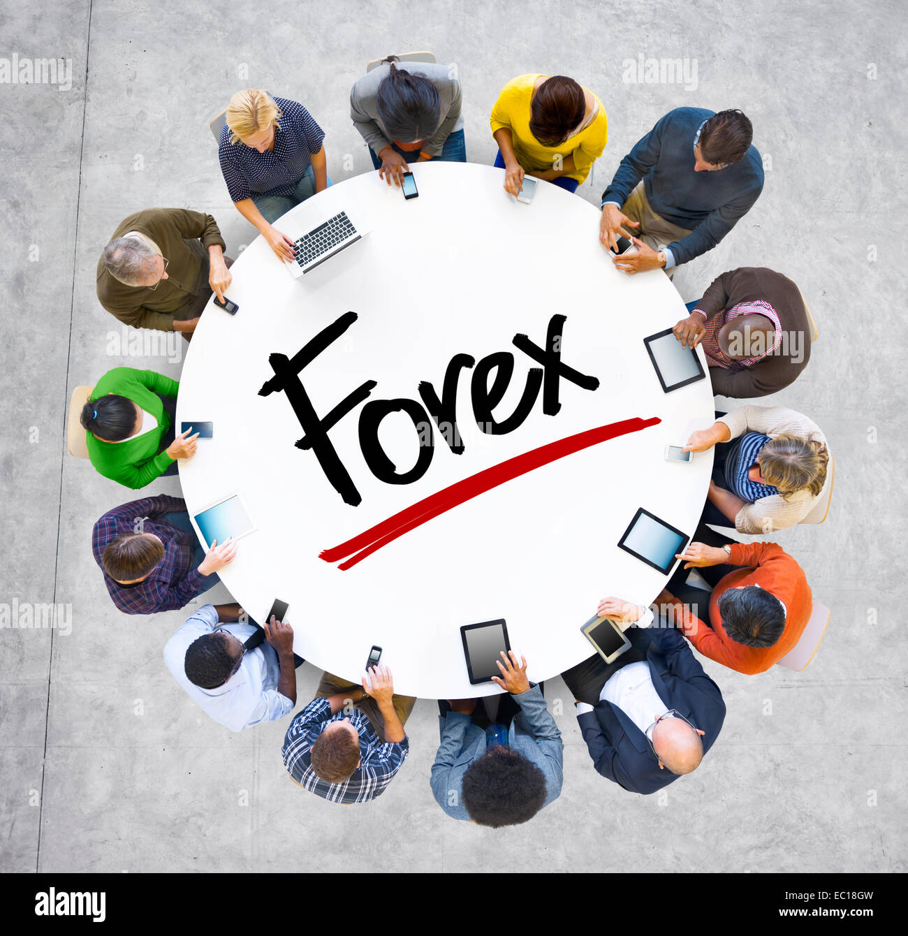 Multiethnic Group of Business People with Forex - Stock Image