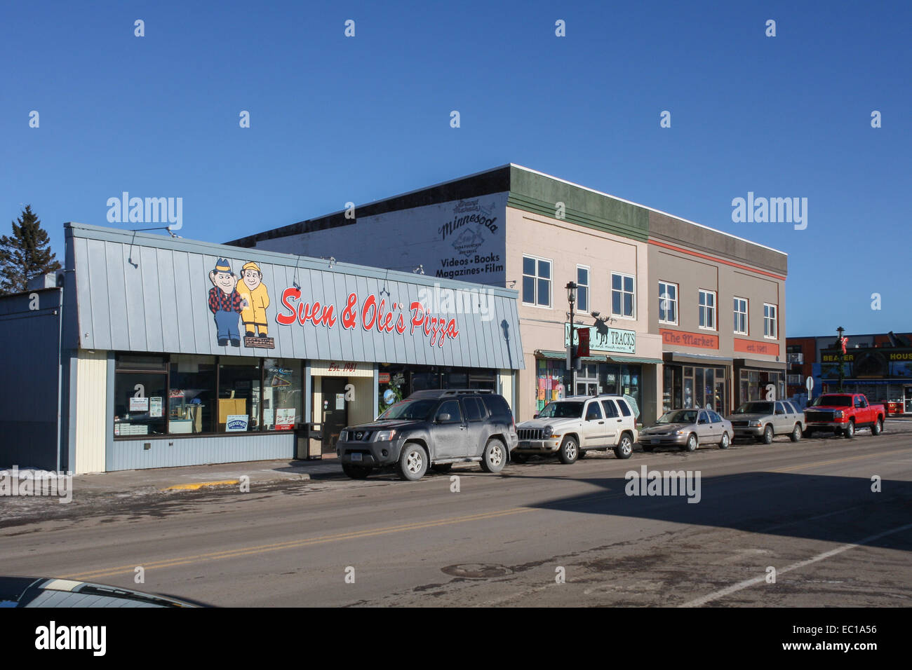 Grand Marais, Minnesota, United States. Sven and Ole's Pizza place in town - Stock Image