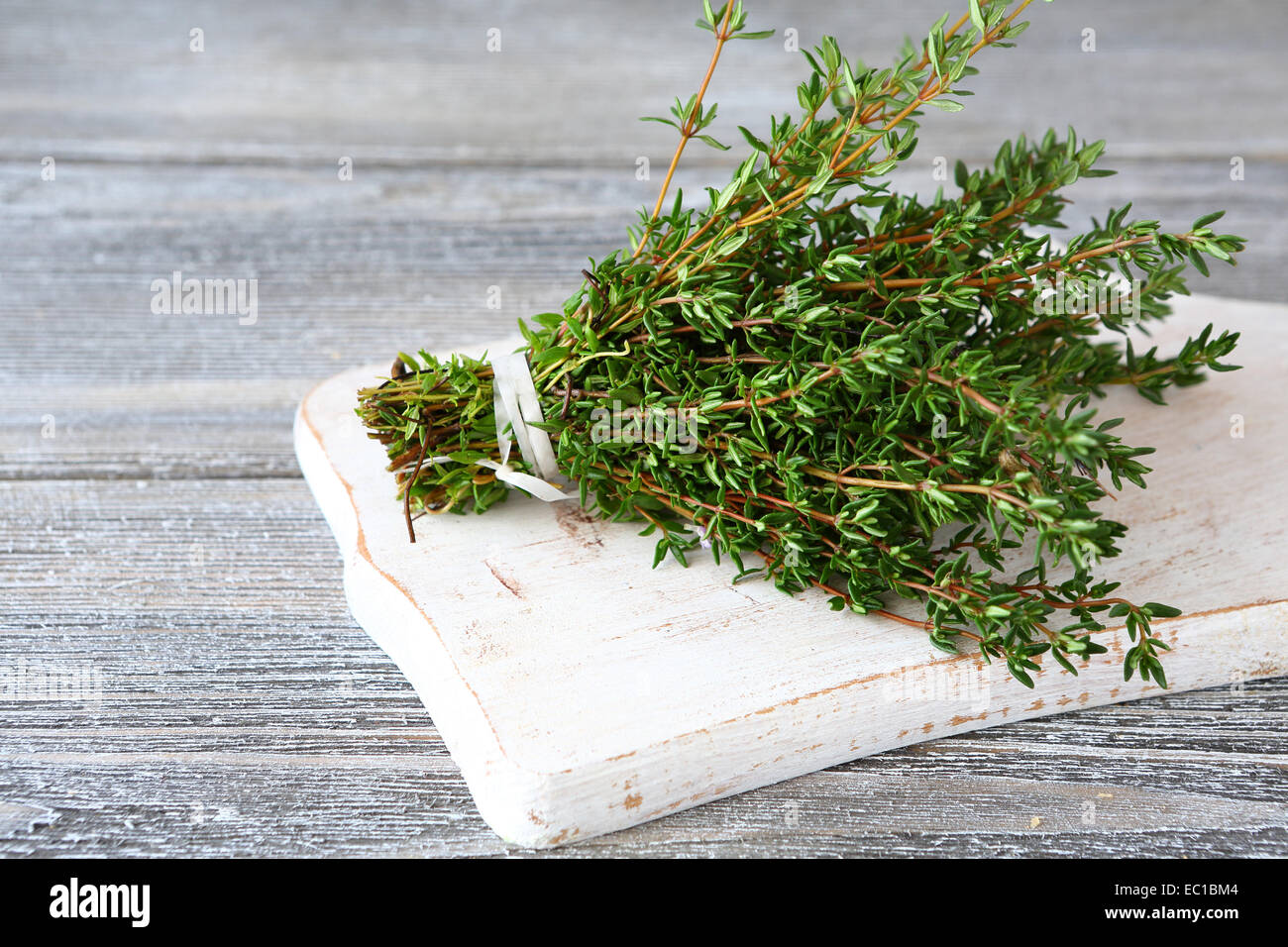 Bunch of fragrant thyme, spice herb - Stock Image