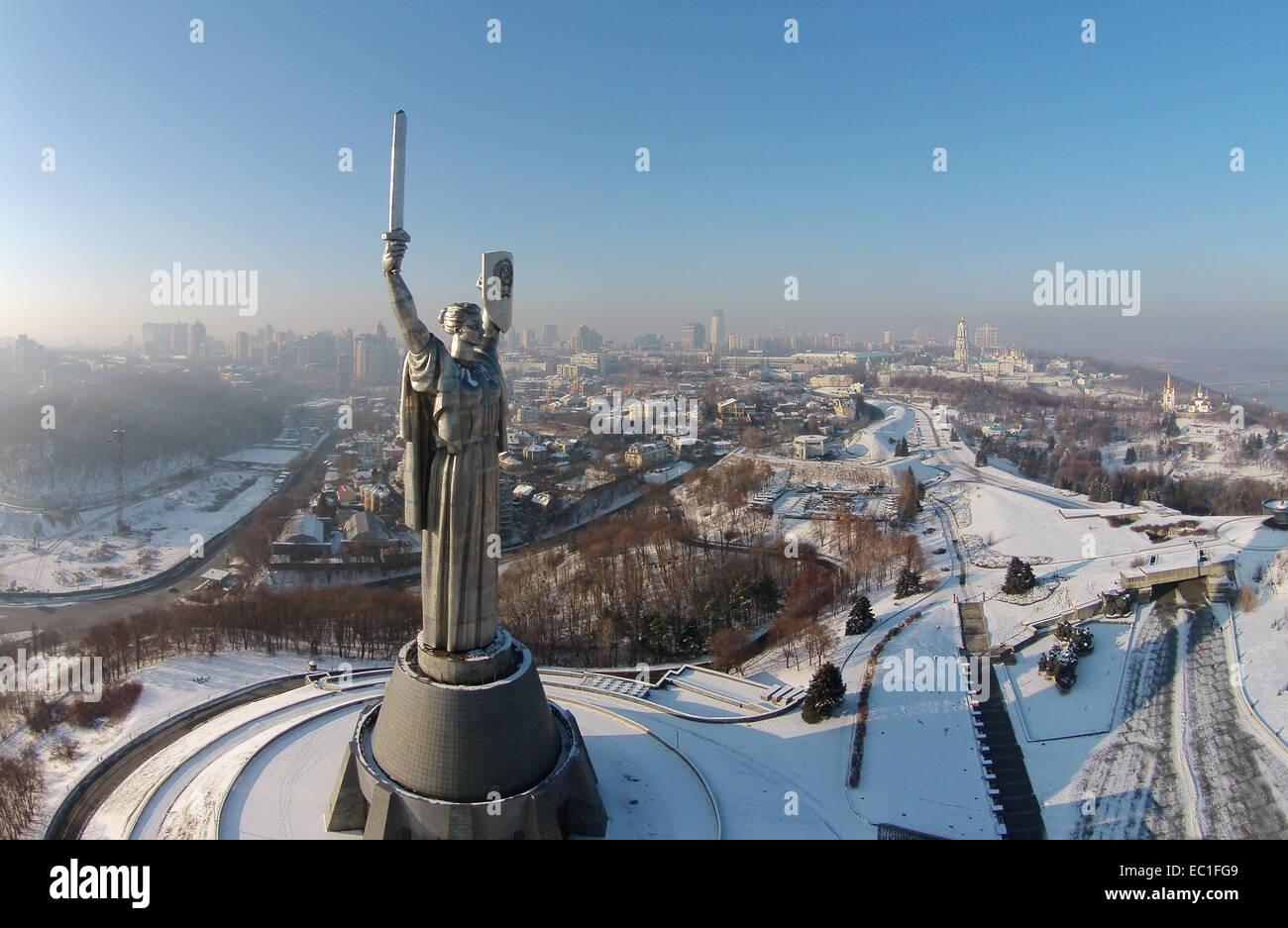 aerial view of Monument Motherland in Kiev, Ukraine - Stock Image