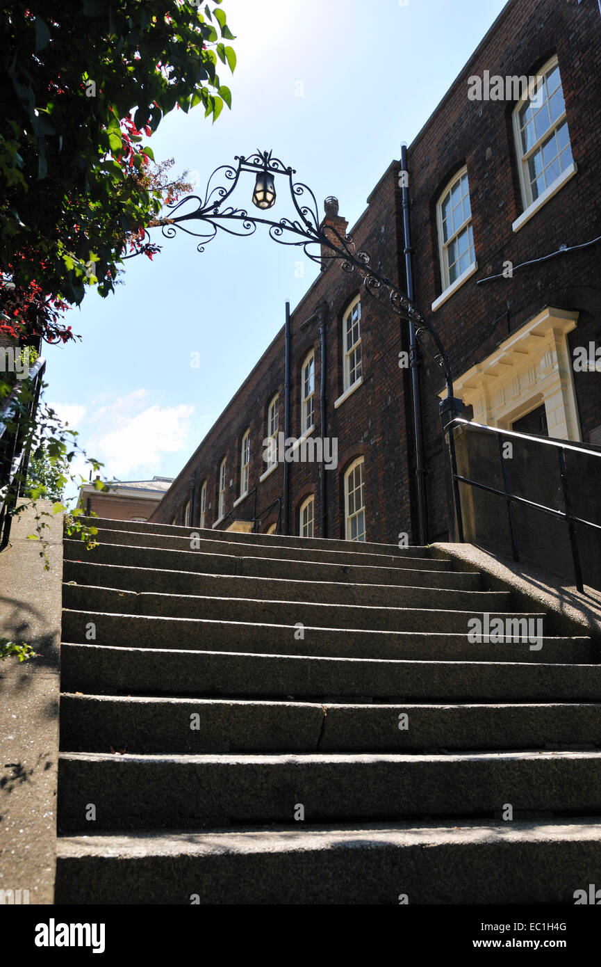 steps up to the door of the pay office, Chatham Historic Dockyard, River Medway, Kent,  Regency offices; where novelist - Stock Image