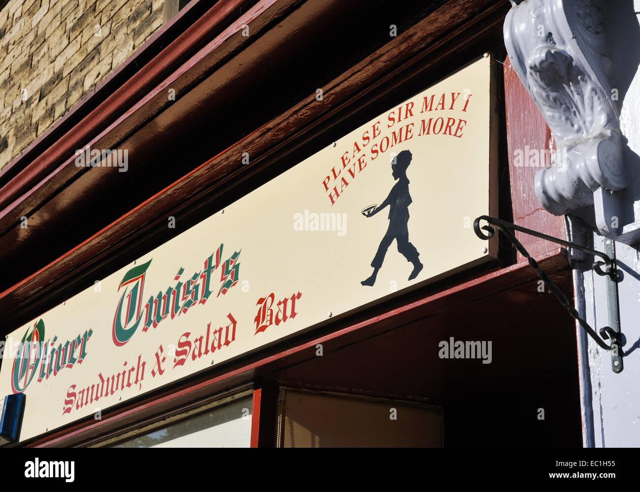 Oliver Twist Sandwich Bar, shop front in Barnard Castle, Teesdale, on the Yorkshire moors, Co. Durham: named after - Stock Image