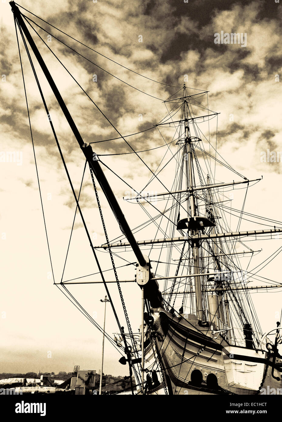HMS Gannet, Victorian warship from 1866, restored and exhibited in Chatham Historic Shipyard, Kent - Stock Image