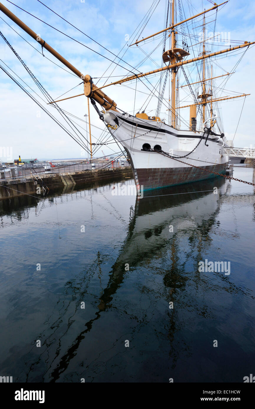 HMS Gannet, and reflection, Victorian warship from 1866, restored and exhibited in Chatham Historic Shipyard, Kent - Stock Image