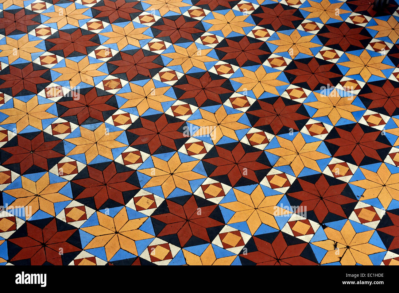 Dickens - Gad's Hill Place (Gadshill) conservatory tiled floor. English novelist Charles Dickens lived here at Higham - Stock Image