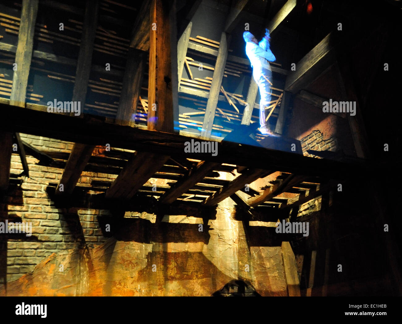 Suicide of Uncle Ralph Nickleby; from Nicholas Nickleby. A  Dickens World projection-effect display from the novel - Stock Image
