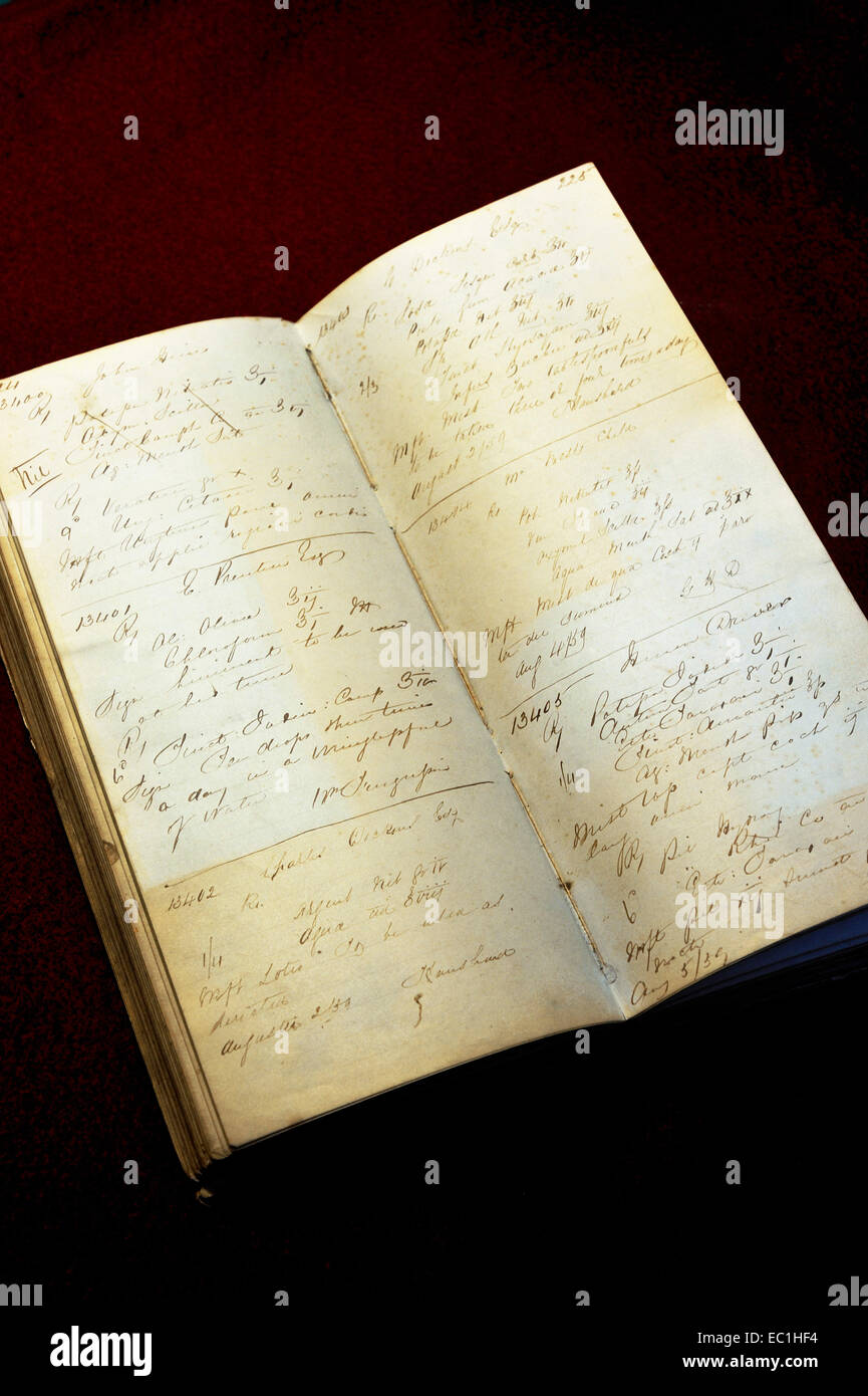 Dickens - pharmacist's prescription book, July - August 1859, from Rochester High St., Kent. in the Rochester Guildhall - Stock Image