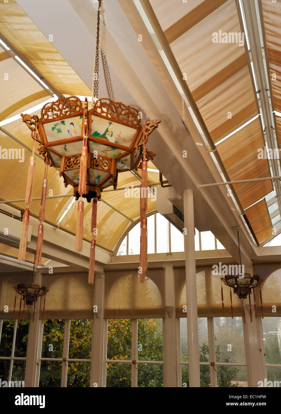 Dickens - Gad's Hill Place (Gadshill) Chinese lantern in conservatory. English novelist Charles Dickens lived here Stock Photo
