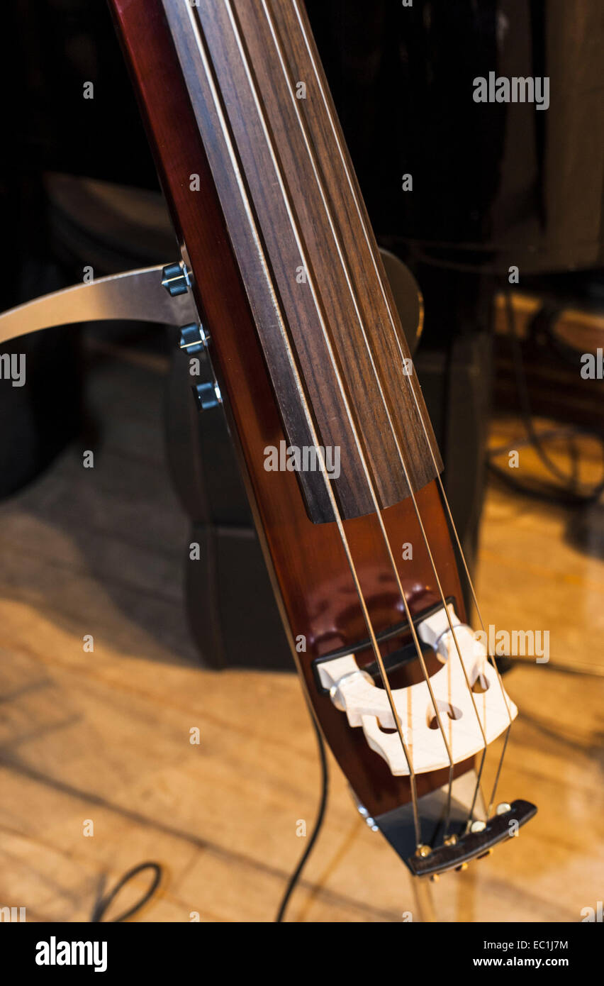 Silent electric upright bass,  double bass, 4-string; close-up of strings, bridge, electric pick-up, volume control Stock Photo