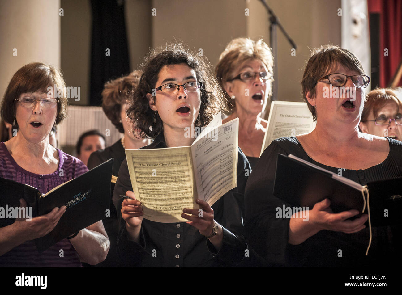 Female singers of The Bach Choir, in rehearsal. Founded in 1876, The Bach Choir, London, of 220 voices, is recognised - Stock Image