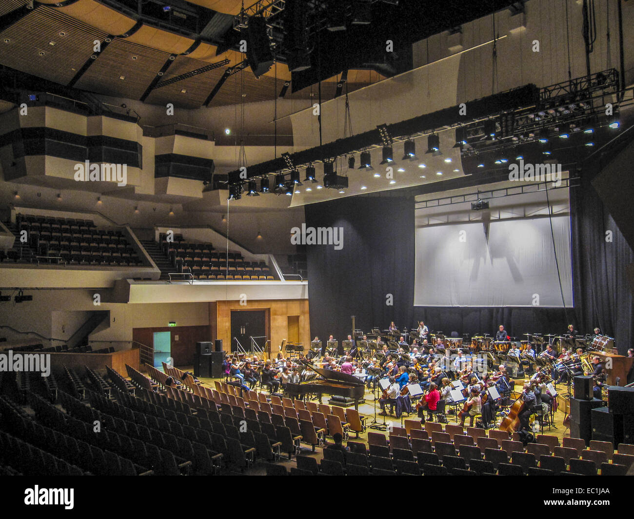 Ulster Orchestra rehearsing in the Waterfront Hall, Belfast, with Principal Conductor, JoAnn Falletta,  2012 - Stock Image