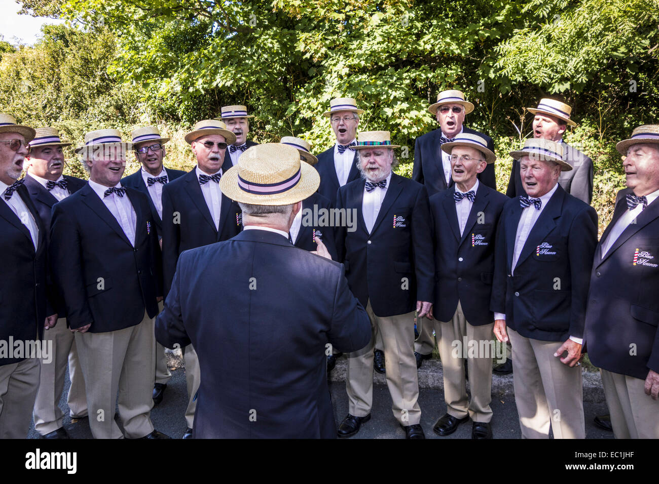 Blue Heaven male voice choir performing in close harmony, open-air at the inaugural Dalkey Lobster Festival, Co. - Stock Image