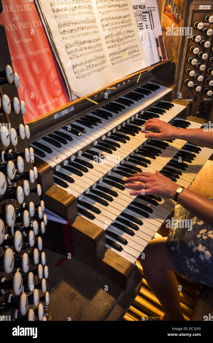 Guildford Cathedral, the organ. 66 manual ranks and 4,398 pipes. Rebuilt by  Rushworth & Dreaper from an instrument - Stock Image