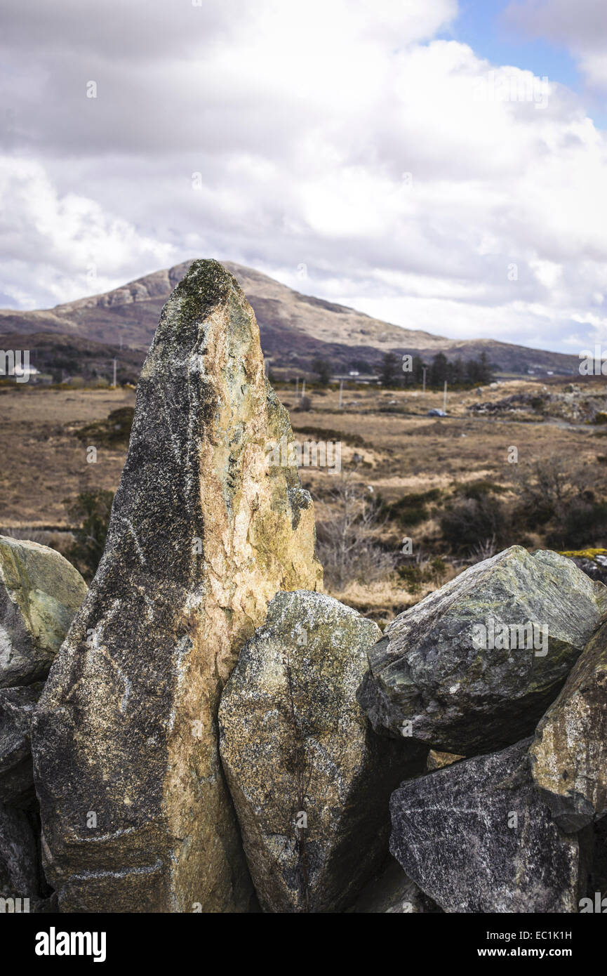Connemara Standing stone in dry stone wall, 12 Bens, Co. Galway. Fashioned with antler tools and fire some 2000 - Stock Image