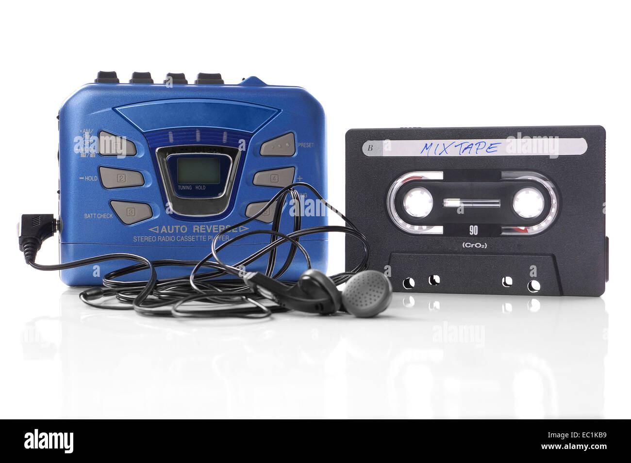 music cassette and walkman - Stock Image