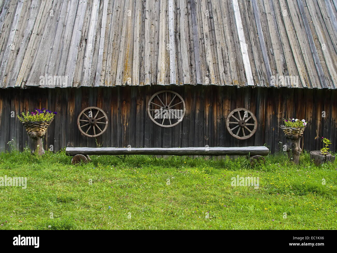 The bench in the ethnographic Museum. - Stock Image