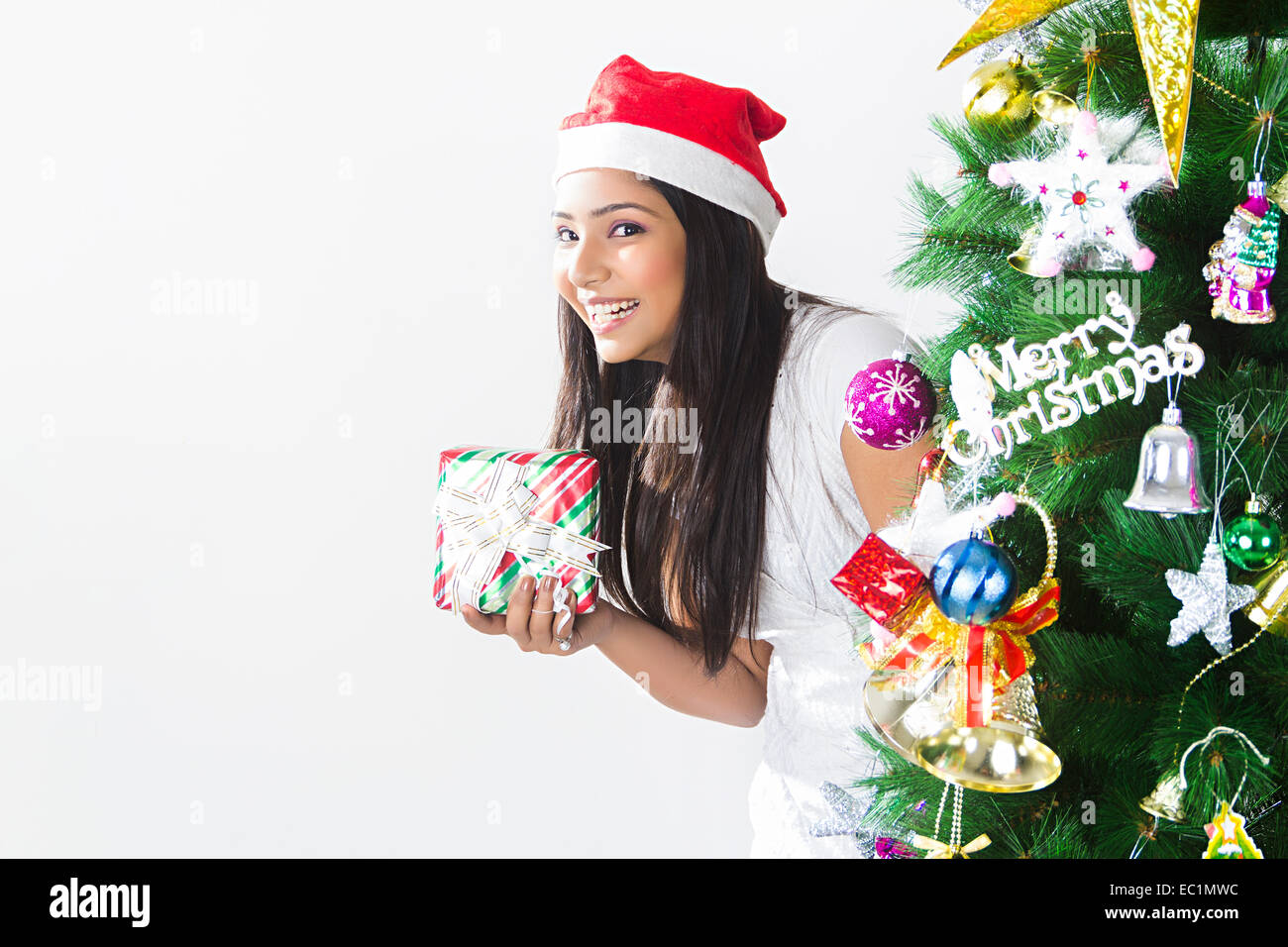 one indian lady Christmas Festival Surprise Gift Stock Photo ...