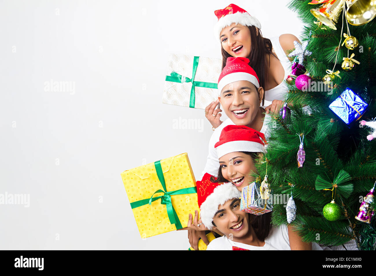 indian friends Christmas Festival surprise gift Stock Photo ...