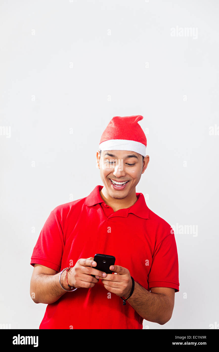 one indian man Christmas Festival chatting phone Stock Photo ...