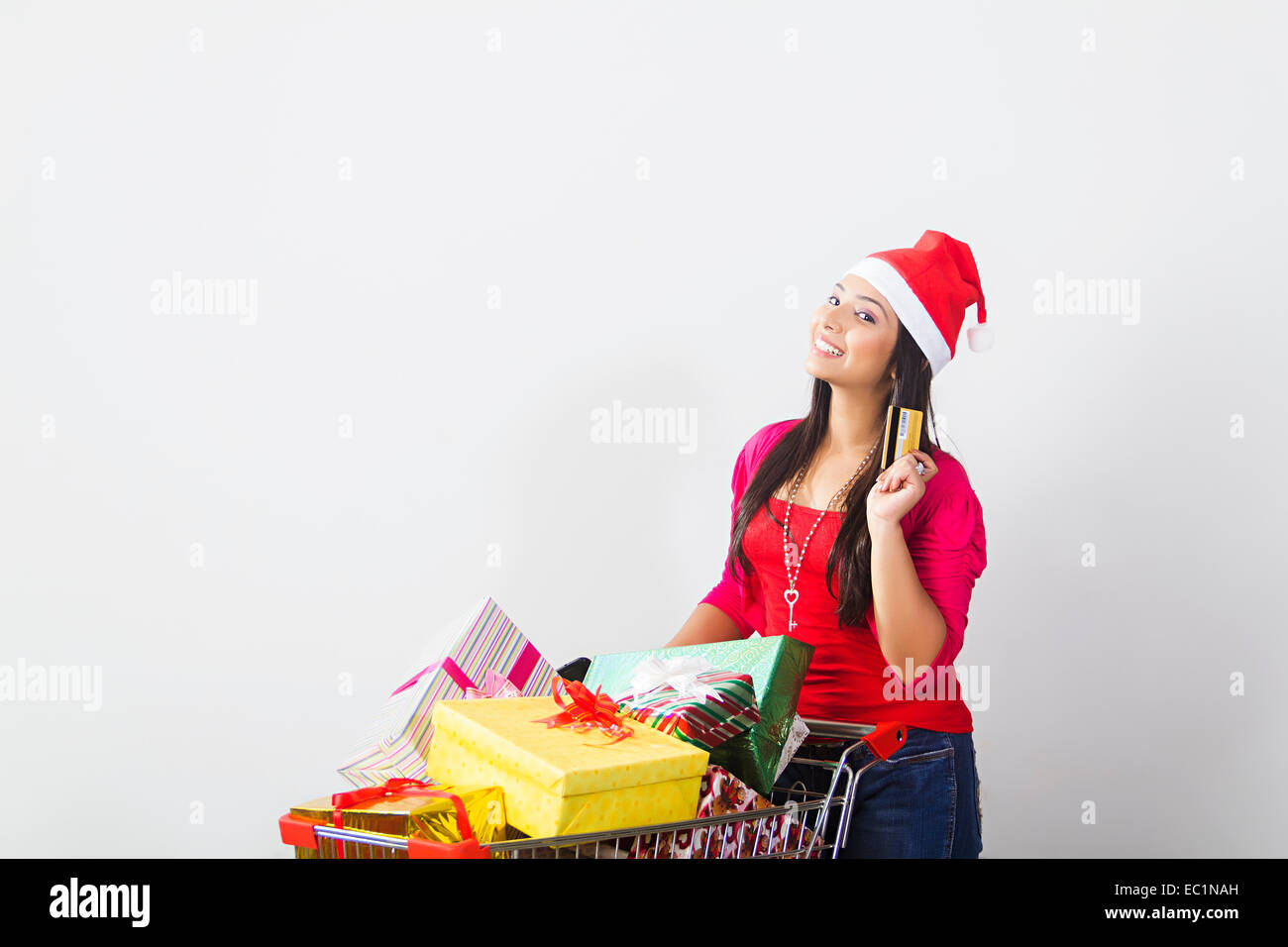 one indian lady Christmas Festival Gift online shopping Stock Photo ...