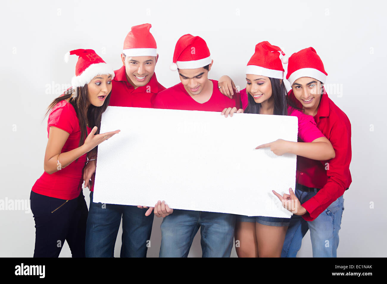 indian friends Christmas Festival Showing Message Board Stock Photo ...